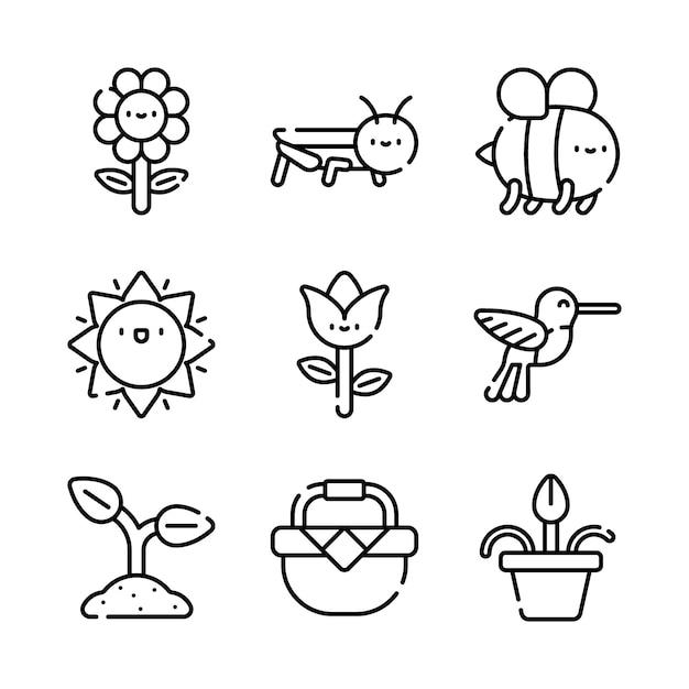 Frühling icons pack. getrennte frühlingssymbolansammlung. grafisches ikonenelement Premium Vektoren