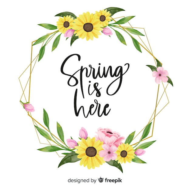 Frühling ist hier rahmen auf weißem hintergrund Kostenlosen Vektoren