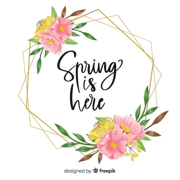 Frühling ist hier rahmen mit blumenmuster Kostenlosen Vektoren