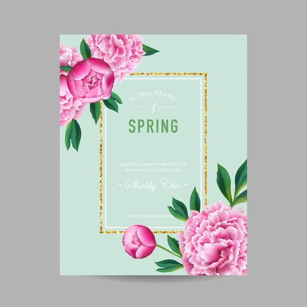 Frühling und sommer-blumenmuster-pfingstrosen-blumen Premium Vektoren
