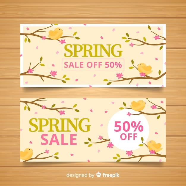 Frühling verkauf banner Kostenlosen Vektoren