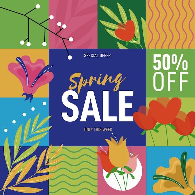 Frühling verkauft verschiedene plätze mit blumen Kostenlosen Vektoren