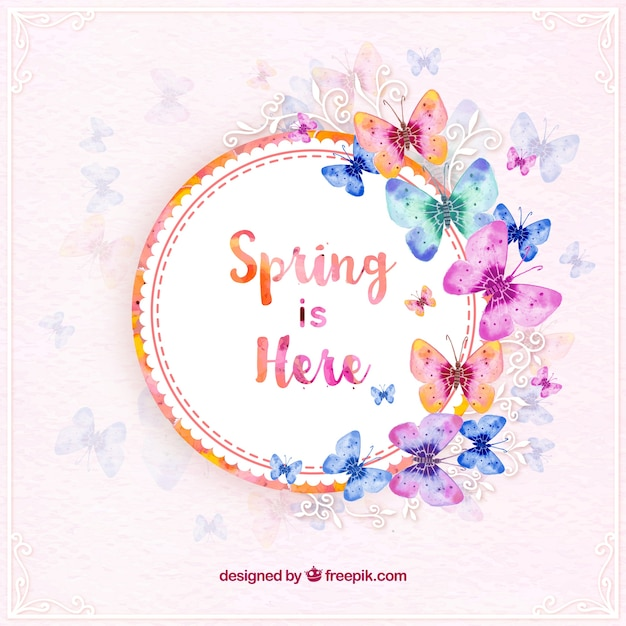 Frühlings-aufkleber mit aquarell schmetterlinge Kostenlosen Vektoren