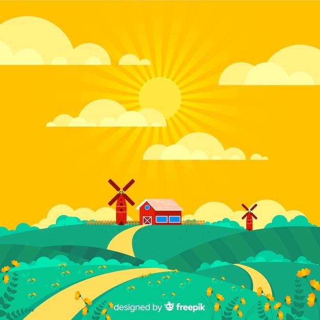 Frühlings farm landschaft hintergrund Kostenlosen Vektoren