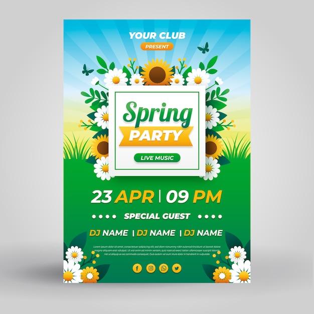 Frühlings-partyplakatschablone im flachen design Kostenlosen Vektoren