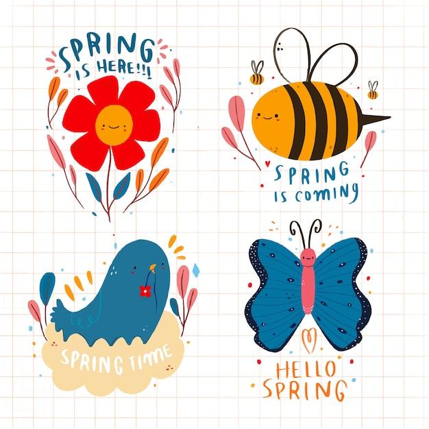 Frühlingsabzeichen-sammlung im flachen design Kostenlosen Vektoren