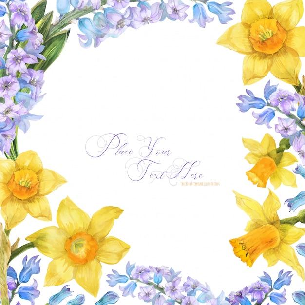 Frühlingsaquarellrahmen mit narzissen- und hyazinthenblumen Premium Vektoren