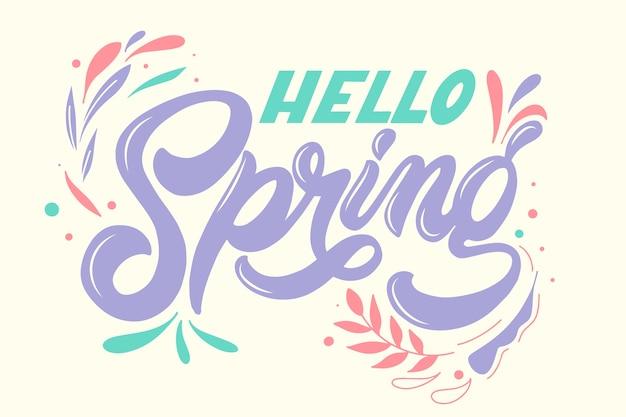 Frühlingsbeschriftung mit bunter dekoration Kostenlosen Vektoren
