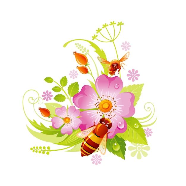 Frühlingsblume . blumensymbol der hagebutte mit blatt, gras, honigbiene. Premium Vektoren