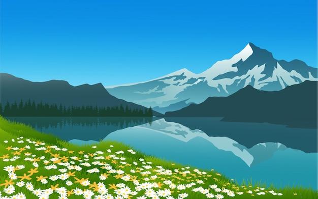 Frühlingsblumen mit berglandschaft Premium Vektoren
