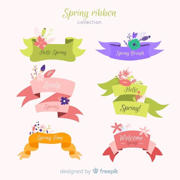 Frühlingsblumenbandkollektion Kostenlosen Vektoren