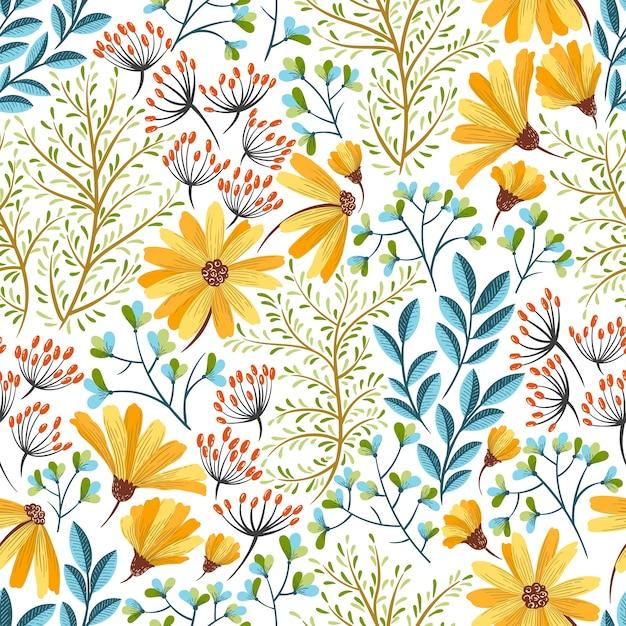 Frühlingsblumenmuster Premium Vektoren