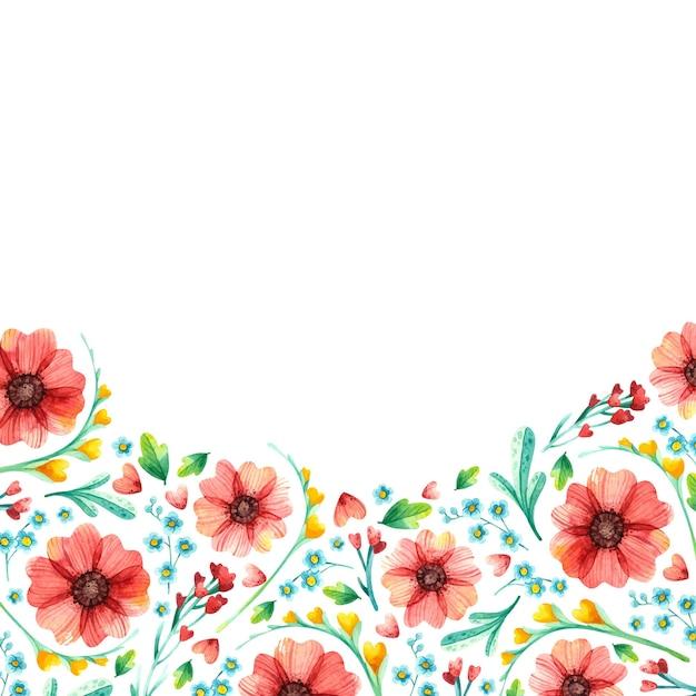 Frühlingsblumenquadratrahmen, botanisches aquarell. Kostenlosen Vektoren