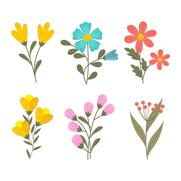 Frühlingsblumensammlung Premium Vektoren