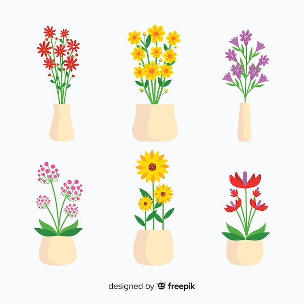 Frühlingsblumenstrauß-sammlung Kostenlosen Vektoren