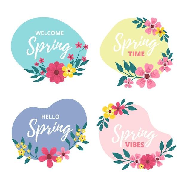 Frühlingsetikettenkollektion Kostenlosen Vektoren