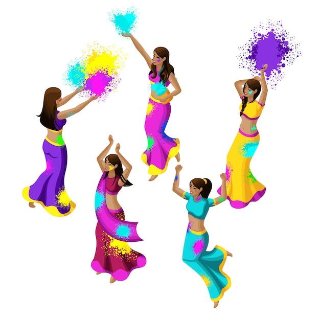 Frühlingsfest, fest der farben, indische mädchen springen, freuen sich, glück, werfen farbiges pulver, schöne bewegungen, sari-kleider Premium Vektoren