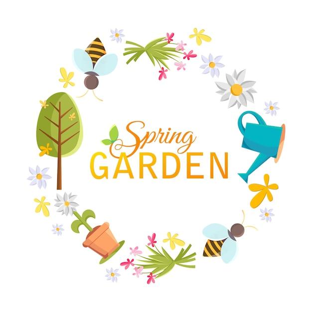 Frühlingsgarten design kreisrahmen mit bildern von baum, topf, biene, gießkanne, vogelhaus und vielen anderen objekten auf dem weiß Kostenlosen Vektoren