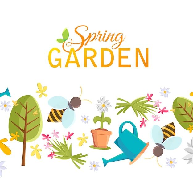 Frühlingsgarten-designplakat mit baum, topf, biene, gießkanne, vogelhaus und vielen anderen gegenständen unter den wörtern frühlingsgarten auf dem weiß Kostenlosen Vektoren