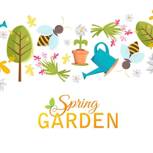 Frühlingsgarten-designplakat mit bildern von baum, topf, biene, gießkanne, vogelhaus und vielen anderen objekten auf dem weiß Kostenlosen Vektoren
