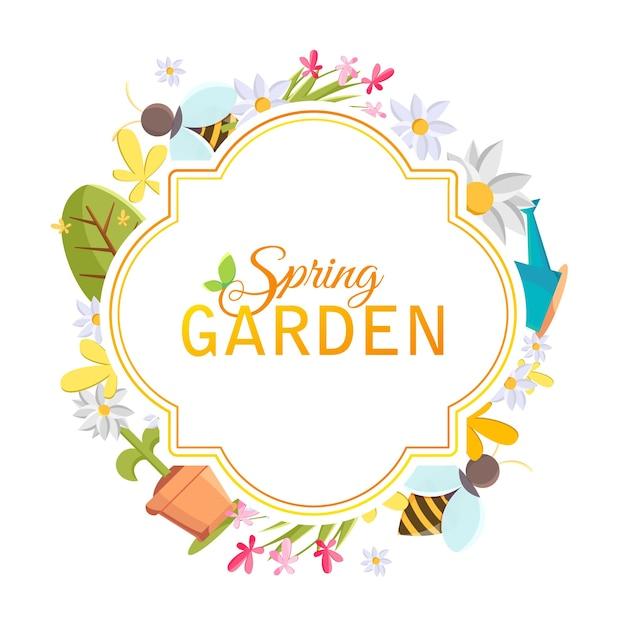 Frühlingsgarten designrahmen mit bildern von baum, topf, biene, gießkanne, vogelhaus und vielen anderen objekten auf dem weiß Kostenlosen Vektoren