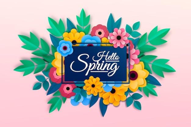 Frühlingshintergrund in der bunten papierart Kostenlosen Vektoren
