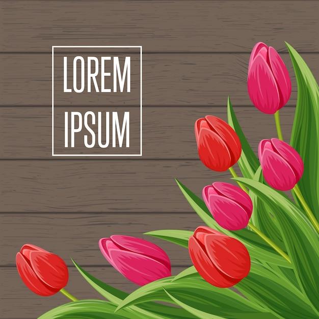 Frühlingshintergrund mit blühender tulpe Premium Vektoren