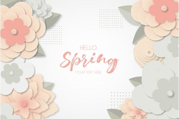 Frühlingshintergrund mit papercut blumen Kostenlosen Vektoren