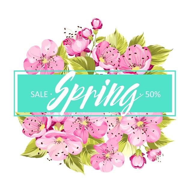 Frühlingshintergrund mit sakura-blumen. Premium Vektoren