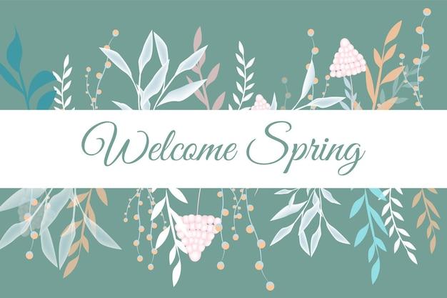 Frühlingshintergrund mit texthandschrift. hallo frühling. hallo frühling! grußkarte mit blumen, schmetterlingen und blättern vektor. hallo frühlingsillustration. Premium Vektoren