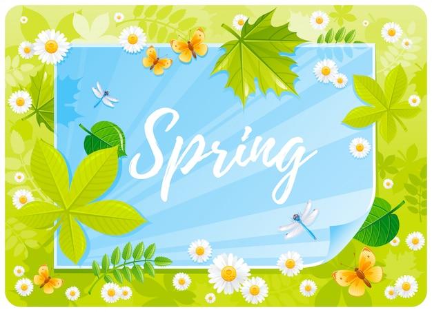 Frühlingskarikatur mit schmetterlingen, kamillenblüten, baumblättern Premium Vektoren
