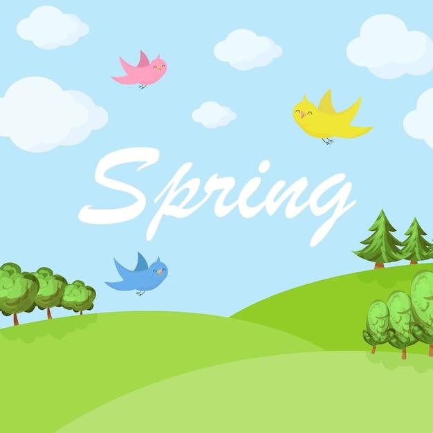 Frühlingskarikaturlandschaft mit bäumen und wolken Premium Vektoren