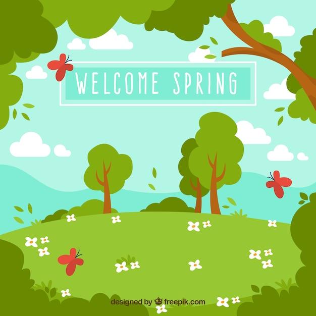 Frühlingslandschaft hintergrund mit bäumen und schmetterlingen Kostenlosen Vektoren