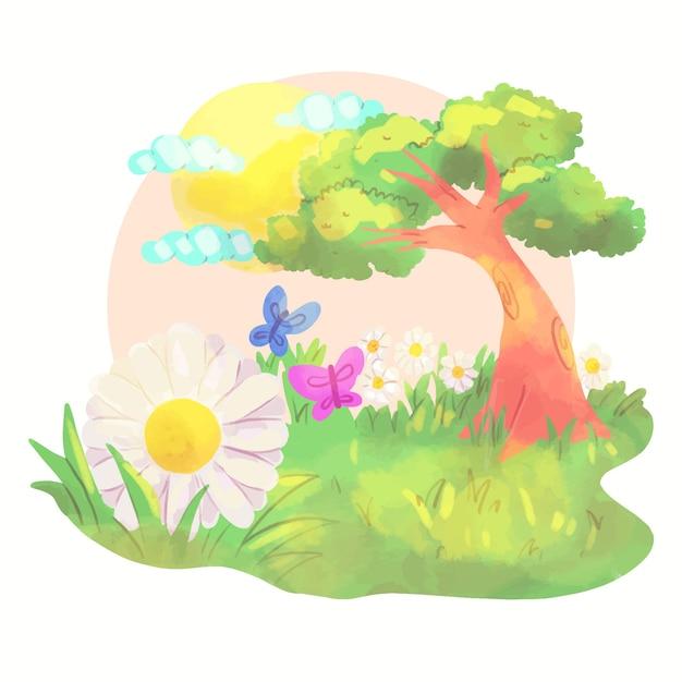 Frühlingslandschaft mit bäumen und schmetterlingen Kostenlosen Vektoren