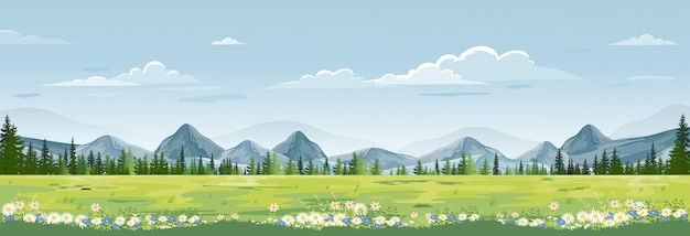Frühlingslandschaft mit berg, blauem himmel und wolken, grüne felder des panoramas, frische und ruhige ländliche natur im frühjahr mit land des grünen grases Premium Vektoren