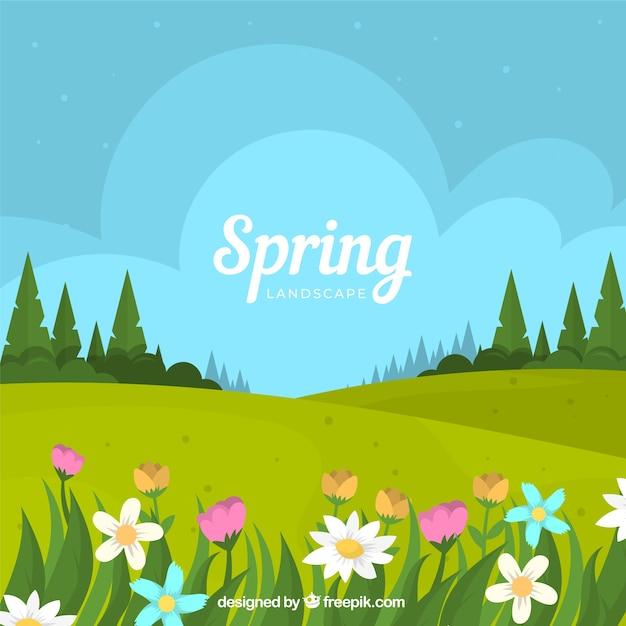Frühlingslandschaftshintergrund in der flachen art Kostenlosen Vektoren
