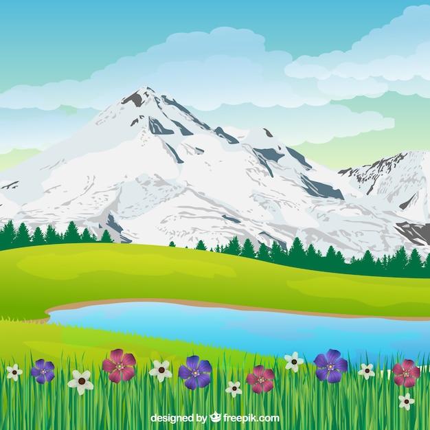 Frühlingslandschaftshintergrund in der realistischen art Kostenlosen Vektoren