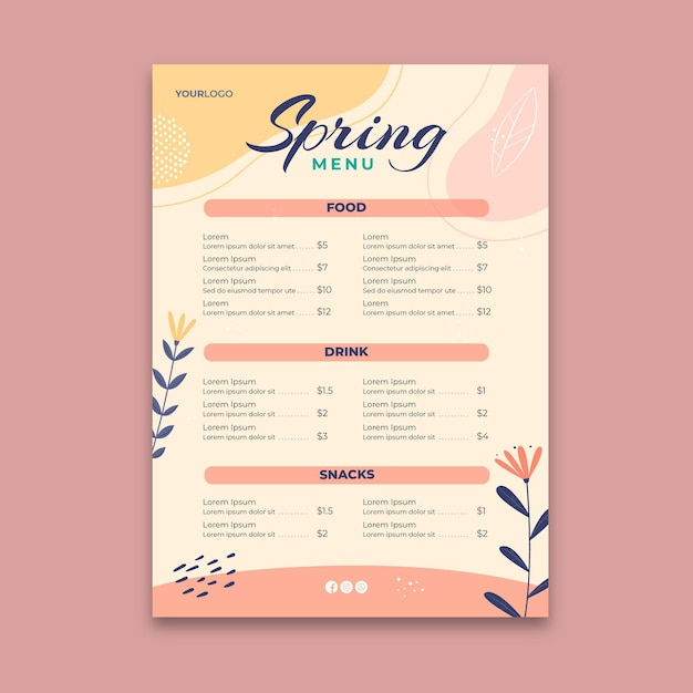 Frühlingsmenüvorlage Kostenlosen Vektoren