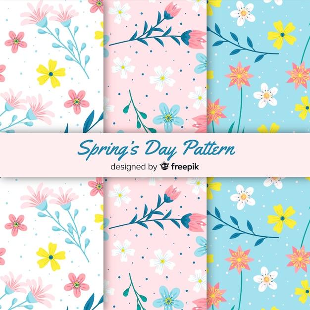 Frühlingsmuster-sammlung Kostenlosen Vektoren
