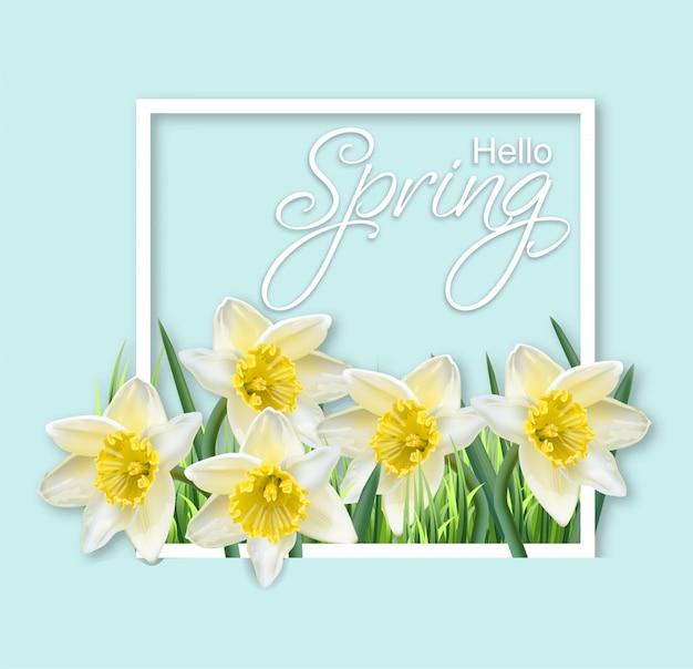 Frühlingsnarzisse blüht rahmen Premium Vektoren