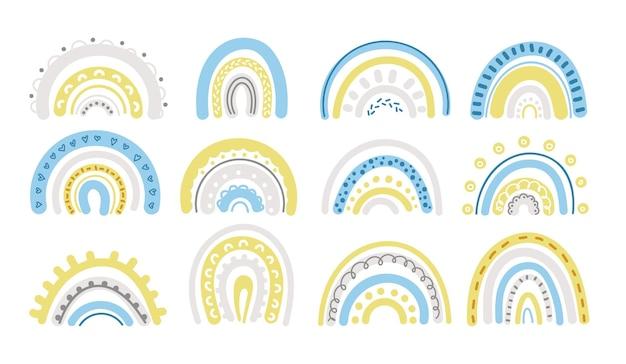 Frühlingspastellregenbogen im blauen und gelben clipart-satz Premium Vektoren