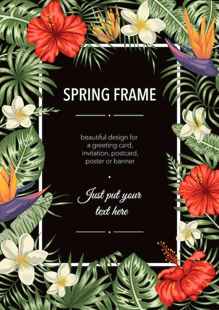 Frühlingsrahmenschablone mit tropischen blättern und blumen Premium Vektoren