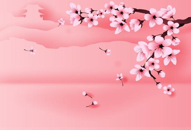 Frühlingstempel auf berg durch kirschblüte Premium Vektoren