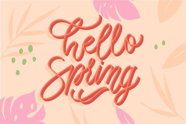 Frühlingstypographie mit bunter dekoration Kostenlosen Vektoren