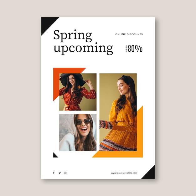 Frühlingsverkauf flyer vorlage mit foto Kostenlosen Vektoren