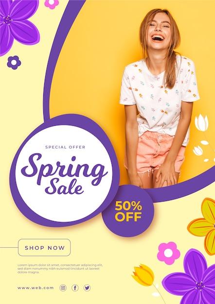 Frühlingsverkauf flyer vorlage thema Kostenlosen Vektoren