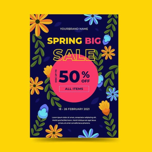 Frühlingsverkauf flyer vorlage Kostenlosen Vektoren