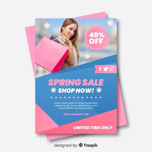 Frühlingsverkauf fotografisches poster Kostenlosen Vektoren