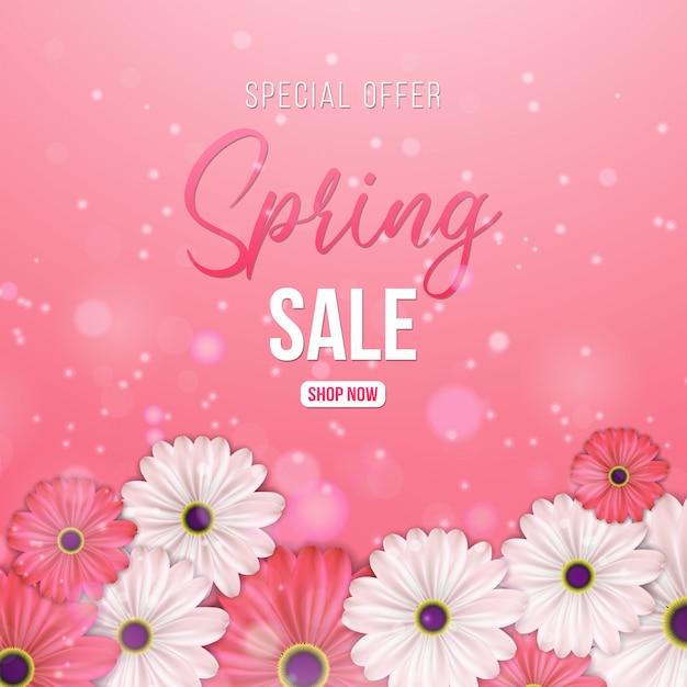 Frühlingsverkauf für banner Premium Vektoren
