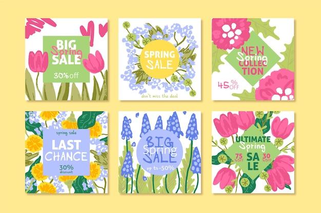 Frühlingsverkauf instagram beitragssammlung mit mehrfarbiger zusammenstellung von blumen Kostenlosen Vektoren